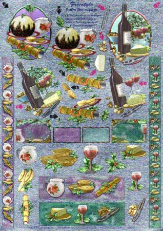 Christmas Pudding,  Party & Festivities Freestyle 3d Decoupage Sheet From Dufex